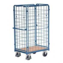 Vysoký policový vozík s madlem a mřížovými bočnicemi, do 500 kg, 1 police, 181,6 x 118,9 x 73,8 cm