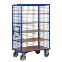 Vysoký skříňový vozík s madlem a mřížovými stěnami, do 500 kg, 5 polic, 180 x 111,5 x 73 cm