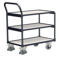 Antistatický policový vozík s madlem, do 250 kg, 3 police, 98 x 97,5 x 52,4 cm