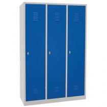 Svařovaná šatní skříň s mezistěnou Manutan DURO PROFI, 3 oddíly, šedá/modrá, otočný uzávěr
