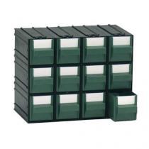 Modulový organizér, 12 zásuvek, černý/zelený