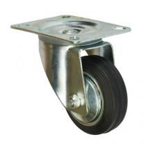 Gumové transportní kolo s přírubou, průměr 80 mm, otočné, valivé ložisko
