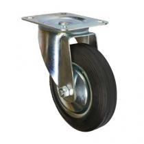 Gumové transportní kolo s přírubou, průměr 160 mm, otočné, valivé ložisko