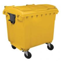Plastová venkovní popelnice Manutan, objem 1 100 l, žlutá