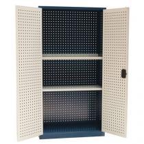 Kovová dílenská skříň Manutan, 195 x 100 x 45 cm, modrá/šedá