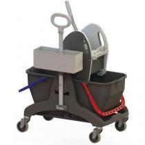 Úklidový vozík Manutan s pákovým ždímačem, objem 2 x 15 l