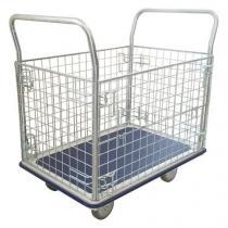 Plošinový vozík Manutan se dvěma madly a čtyřmi mřížovými stěnami, do 300 kg