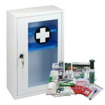Kovová nástěnná lékárnička s transparentními dvířky, uzamykatelná, 46 x 30 x 14 cm, s náplní VÝROBA