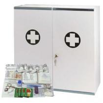 Velkoobjemová kovová nástěnná lékárnička, uzamykatelná, 53 x 53 x 19 cm, s náplní KANCELÁŘ