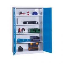 Kovová dílenská skříň, 199 x 120 x 60 cm, šedá/modrá