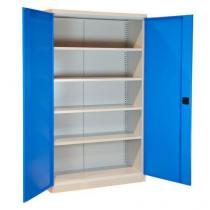 Kovová dílenská skříň, 199 x 120 x 43,5 cm, šedá/modrá