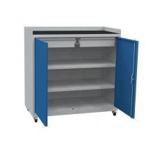 Mobilní dílenská skříň na nářadí, 104 x 100 x 50 cm, šedá/modrá