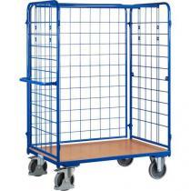 Vysoký policový vozík s madlem a mřížovými bočnicemi, do 500 kg, 1 police, 181,6 x 138,9 x 82,7 cm