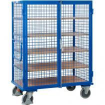 Vysoký uzavíratelný skříňový vozík s madlem a mřížovými stěnami, do 500 kg, 5 polic,180 x 131,5 x 91 cm