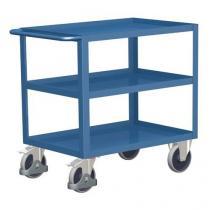 Policový vozík s madlem, do 400 kg, 3 police s vyvýšenými hranami
