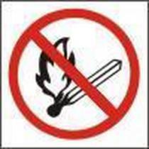 Zákazová bezpečnostní tabulka - Zákaz manipulace s plamenem, samolepicí fólie