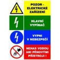 Informační bezpečnostní tabulka - Kombinace čtyř výstražných tabulek k elektrickému zařízeni, samolepicí fólie