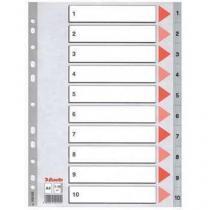 Plastové rozdružovače Esselte, 10 ks, 10 oddílů