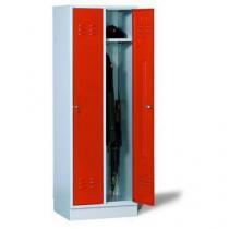 Svařovaná šatní skříň Daniel, 2 oddíly, cylindrický zámek, šedá/červená
