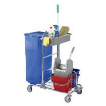 Úklidový vozík s pákovým ždímačem, objem 2 x 12 l