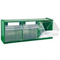 Zásuvkový modul, 3 výklopné zásuvky, zelený
