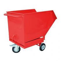 Pojízdný výklopný kontejner s kapsami pro vysokozdvižný vozík, objem 600 l, červený