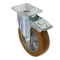 Polyuretanové transportní kolo s přírubou, průměr 200 mm, otočné s brzdou, valivé ložisko