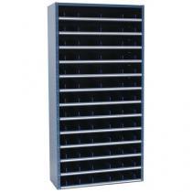 Kovový regál s děliči, 198 x 100 x 30 cm, 12 polic, modrý