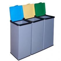 Sada 3 ks plastových odpadkových košů Monti na tříděný odpad, objem 3 x 85 l, kombinace barev