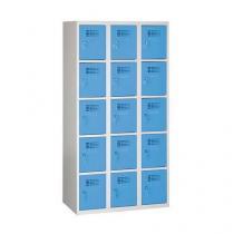 Svařovaná šatní skříň Eric odlehčená, 15 boxů, cylindrický zámek, šedá/sv. modrá