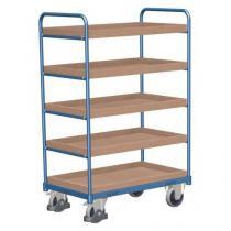 Vysoký policový vozík do 250 kg, 5 polic s vyvýšenými hranami, 91 x 50 x 153 cm