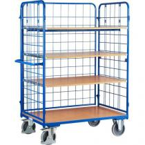 Vysoký policový vozík s madlem a mřížovými bočnicemi, do 500 kg, 4 police, 181,6 x 138,9 x 82,7 cm