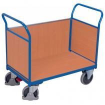 Plošinový vozík se dvěma madly s plnou výplní a boční stěnou, do 500 kg, 100,6 x 139 x 80 cm
