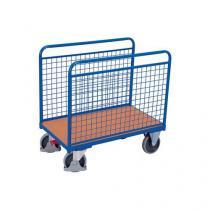 Plošinový vozík se dvěma mřížovými stěnami, do 500 kg, 126 x 126 x 80 cm