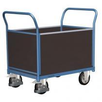 Plošinový vozík se dvěma madly s plnou výplní a bočními stěnami, do 1 000 kg, 100,6 x 179,7 x 80 cm