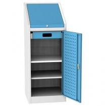 Dílenská skříň na nářadí, 2 police, 130 x 50 x 50 cm, šedá/modrá