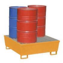 Ocelová záchytná vana Manutan, pro 4 sudy, kapacita 440 l, lakovaná
