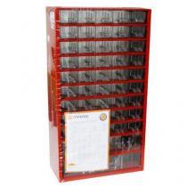 Kovový organizér, 48 zásuvek, červený