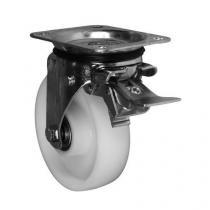 Nylonové transportní kolo s přírubou, průměr 150 mm, otočné s brzdou, valivé ložisko