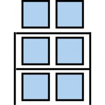Paletový regál Cell, základní, 210,6 x 180 x 110 cm, 5 200 kg, 2 patra, modrý