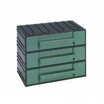Modulový organizér, 3 zásuvky, černý/zelený