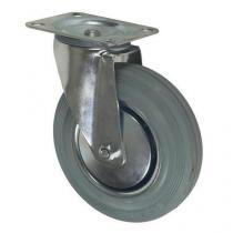 Gumové transportní kolo s přírubou, průměr 200 mm, otočné, valivé ložisko