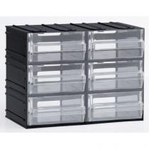 Modulový organizér, 6 zásuvek, černý/transparentní