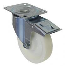 Nylonové transportní kolo s přírubou, průměr 160 mm, otočné s brzdou, valivé ložisko