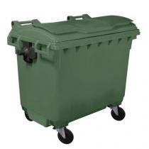 Plastová venkovní popelnice Manutan, objem 660 l, zelená