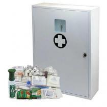 Kovová nástěnná lékárnička, uzamykatelná, 60 x 45 x 16 cm, s náplní SKLAD