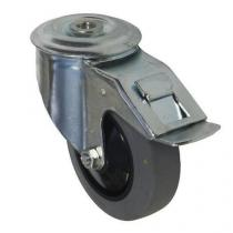 Antistatické gumové přístrojové kolo se středovým otvorem, průměr 100 mm, otočné s brzdou, kuličkové ložisko