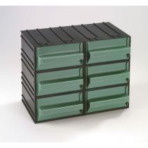 Modulový organizér, 6 zásuvek, černý/zelený