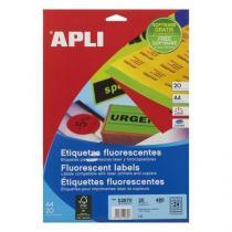 Univerzální samolepicí etikety Apli, 64 x 33,9 mm, žluté