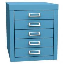 Jednořadá kovová kartotéka A4 Esk, 5 zásuvek, modrá